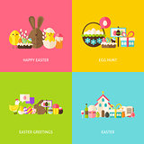 Happy Easter Greetings Flat Concepts Set