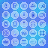 Line Circle Web Gadgets and Devices Icons Set