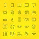 Technology Devices Line Icons Set over Polygonal Background