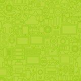 Thin Green Gadgets and Devices Line Seamless Pattern