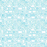 Thin Line Technology Gadgets White Seamless Pattern
