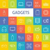 Vector Line Art Electronic Gadgets Icons Set