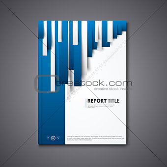 Brochures book or flyer with abstract blue white stripes template