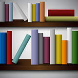 Colorful books on the shelves template