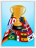 Trophy on world flags panel