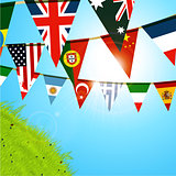 World bunting over sunny spring sky