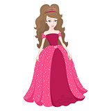 Magnificent princess in bright pink dress with spangles