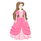 Gentle princess in pink dress with spangles