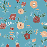 Vector Seamless Pattern with Spring Bouquets