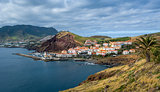 Canical town bay panoramic view, Madeira island.