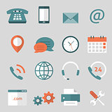 Contact us flat icons