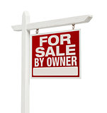 For Sale By Owner Real Estate Sign Isolated on White