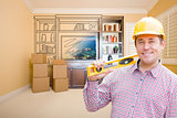 Male Construction Worker In Room With Drawing of Entertainment U