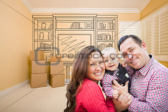 Young Family In Room With Drawing of Entertainment Unit On Wall
