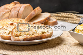 Breakfast table with toast