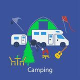 Camping flat design