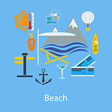 Beach vacation flat design