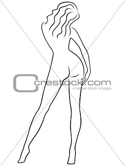 Abstract graceful female figure from the back