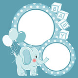 Baby elephant blue scrapbook frame