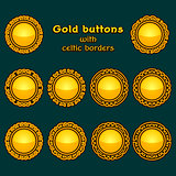 Vector set of ten golden celtic knotwork buttons