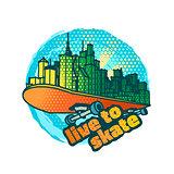 Skateboarding vector emblem