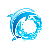 Dolphin vector emblem