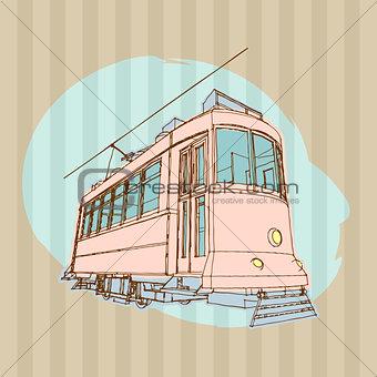Old Tram Illustration