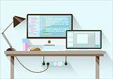 Creative office desktop workspace. Flat design.