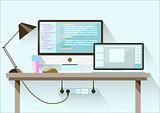 Creative office desktop workspace. Flat design.
