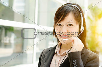 Asian female customer helpline