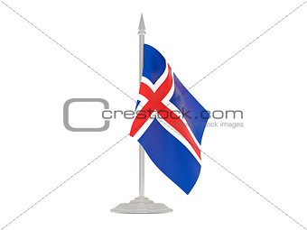 Flag of iceland with flagpole. 3d render