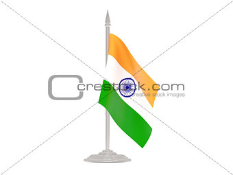 Flag of india with flagpole. 3d render