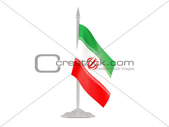 Flag of iran with flagpole. 3d render