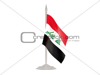 Flag of iraq with flagpole. 3d render