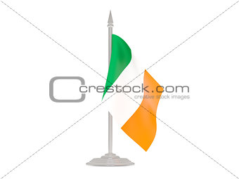 Flag of ireland with flagpole. 3d render