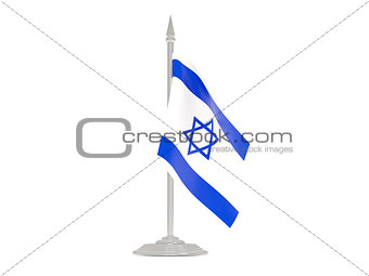 Flag of israel with flagpole. 3d render
