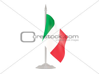 Flag of italy with flagpole. 3d render