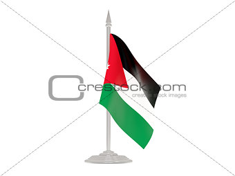 Flag of jordan with flagpole. 3d render