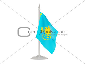 Flag of kazakhstan with flagpole. 3d render