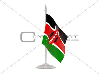 Flag of kenya with flagpole. 3d render