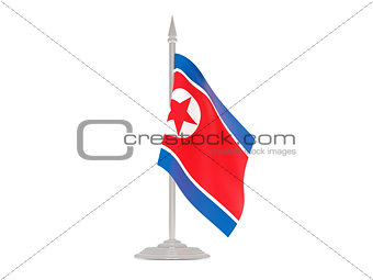 Flag of korea north with flagpole. 3d render