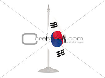 Flag of korea south with flagpole. 3d render