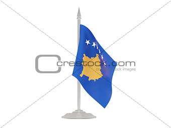 Flag of kosovo with flagpole. 3d render
