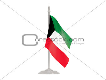 Flag of kuwait with flagpole. 3d render