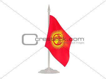Flag of kyrgyzstan with flagpole. 3d render