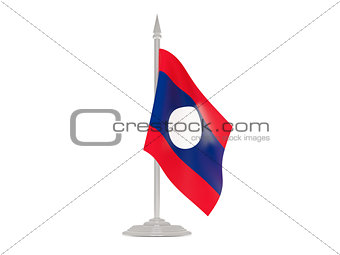 Flag of laos with flagpole. 3d render