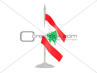 Flag of lebanon with flagpole. 3d render