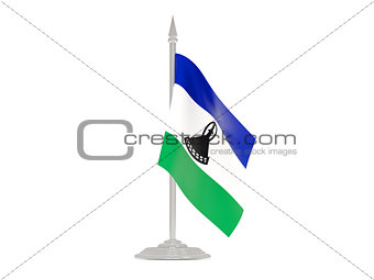 Flag of lesotho with flagpole. 3d render