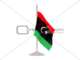 Flag of libya with flagpole. 3d render