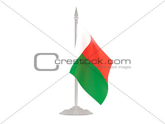Flag of madagascar with flagpole. 3d render